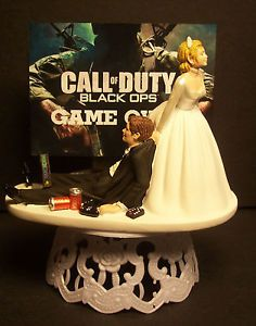 Video Game Over Marry Me Bride and Groom Wedding Cake Topper Funny