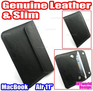 "For Apple MacBook Air 11 6"" 11 inch Genuine Leather Case Cover Slim Sleeve Black"