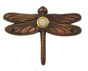 Surface Mount Doorbell Large Dragonfly Oil Rubbed Bronze Lighted Button