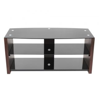 Contemporary Wood Black Glass TV Stand Console Sleek Simple Modern