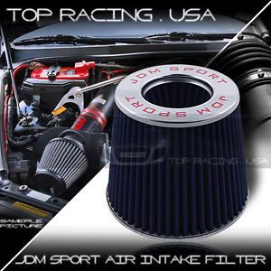"Universal 2 5"" 66mm High Flow Turbo Charger Cold Air Intake Filter Blue"