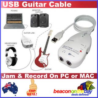 Guitar to USB Interface Link Cable PC Mac Recording Killer Modeling Effects