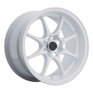 15x8 Konig FlatOut Wheels Tires Package 4x100 White Rims Fits Miata 90 and Up