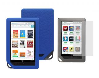 Screen Protector Blue Skin Cover Case for Barnes Noble Nook Color Tablet