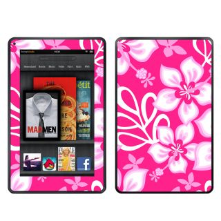 Kindle Fire Pink Hibiscus Flowers Hawaiian Style Skins Kit Vinyl Skins