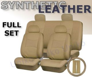 Car Seat Covers Beige Tan PU Synth Leather 4 Headrests Steering Wheel Set CS4