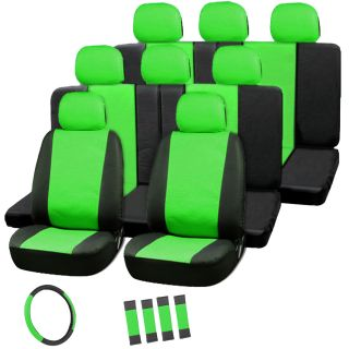 22pc Full Set Leather Green Black Van Seat Covers Bucket Bench Wheel Head Belt