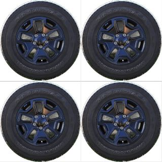 "Set of 5 17"" 2013 Jeep Wrangler Factory Alloy Wheels with Goodyear Tires"