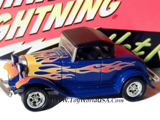 Johnny Lightning '32 Ford Hiboy Hot Rods 2 R1 Blue Flamed