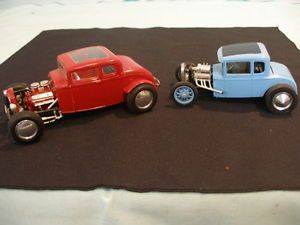 Two Vintage AMT Monogram 1932 Ford Deuce Coupe Model A Hot Rods Built Models
