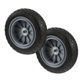 "Two Heavy Duty 10 in Flat Free Polyurethane Hand Truck Tires Wheels 5 8"" Axle"