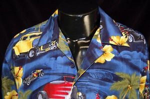 Ferugini Hawaiian Shirt Hot Rods 15th Woodward Dream Cruise Pleasant Ridge x L