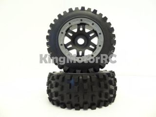 New King Motor T1000 Rear Knobby Truck Tires Wheels Fit HPI Baja 5T 5SC Rovan