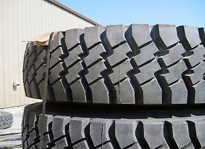 Unused 11 00 R20 Goodyear G177 100 5 Ton 6x6 Military Truck Tires Set on Wheels
