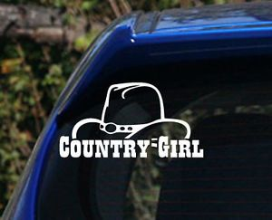 Country Gril Cowgirl Hat Decal Sticker Cute Sexy Pretty Girl Star Truck Window