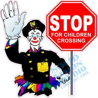 "14"" Safety Stop Children Crossing Ice Cream Truck Concession Trailer Sign Decal"