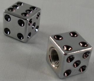 "2 Real Dice ""Chrome Black"" Custom Tire Valve Stem Caps for Motorcycle Car Rims"