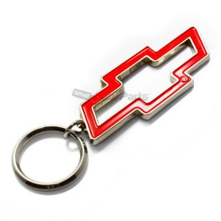 Chevy Red Bowtie Logo Chrome Metal Key Chain Ring Fob