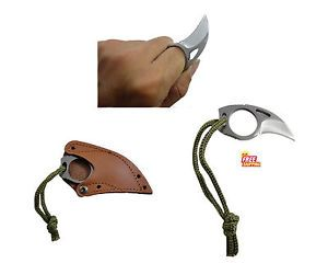 FIXED BLADE BEAR CLAW EAGLE TALON STAINLESS KNIFE LEATHER SHEATH W LANYARD