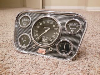 Vintage Navigator Dash w Stewart Warner Gauges Panel Cluster Hot Rod Rat Scta