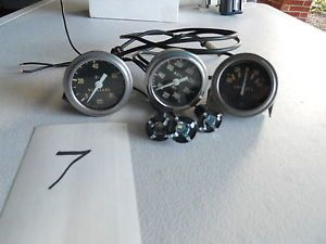 Vintage Stewart Warner Gauges Set of Three Oil PSI Water Temp F Amps