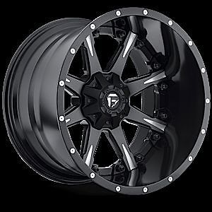 20x12 Fuel Offroad 2piece Nutz Black Milled Rims Truck Wheels Falken Tires