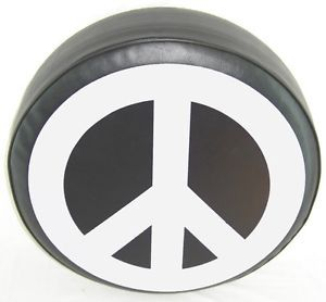 "Sparecover® ABC Series Peace Sign White on 30"" Black HD Vinyl Tire Cover"