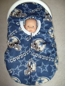 "Dallas Cowboys NFL ""Double"" Fleece Infant Baby Car Seat Cover with Full Zipper"