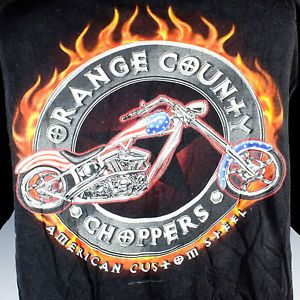 Orange County Choppers T Shirt Harley Davidson Motorcycle Black Cotton Shirt XL