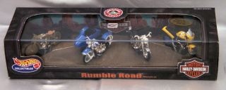 "100 Hot Wheels Harley Davidson ""Rumble Road"" Motorcycle Set 4 Bikes"