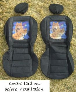 Brand New Car Truck SUV Soft Seat Covers w Picture Wolf Duo in Moonlight
