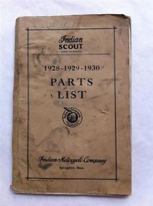 1930 Indian Motorcycle Parts List Original Indian Scout Years 1928 1929 1930