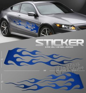 2P Auto Body Graphic Vinyl Sticker Blue Fire Flame Style Left Right Exterior Set