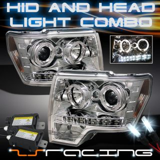 2009 2010 Ford F150 Dual Halo Projector LED Chrome Headlights Slim 6000K HID Kit