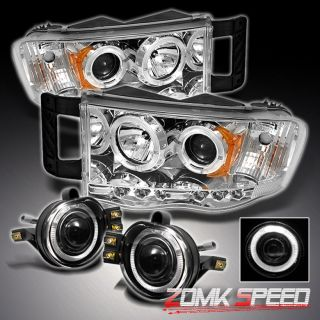 2002 2005 Dodge RAM 1500 2500 3500 Halo LED Projector Head Lights Halo Fog Lamps