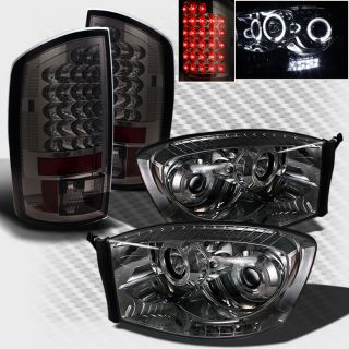 Smoked 07 08 Dodge RAM Halo LED Projector Headlights Lights LED Tail Head Lights