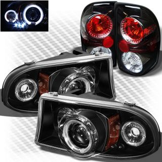 1997 2004 Dodge Dakota Halo LED Projector Headlights Lights Tail Head Lights Set