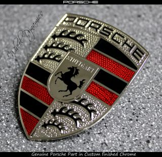 Porsche Titanium Hood Crest Badge Black Chrome 993 996 997 911 991 981 Panamera