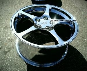 "17 18"" Combo C5 Chrome Thin Spoke Style Corvette Wheels"