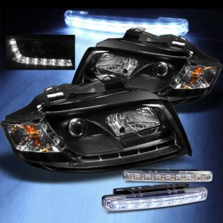 LED Bumper Fog 02 05 Audi A4 R8 DRL LED Projector Black Headlights Head Lights