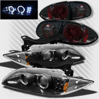95 99 Chevy Cavalier Dual Halo LED Projector Headlights Smoke Tail Lights Set