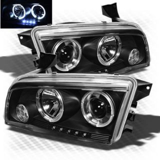2006 2010 Dodge Charger Halo LED Projector Headlights Black Head Lights Lamp Set