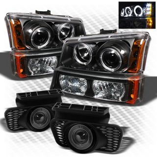 03 06 Chevy Silverado Projector Headlight LED Bumper Lamp Halo Fog Lights Set