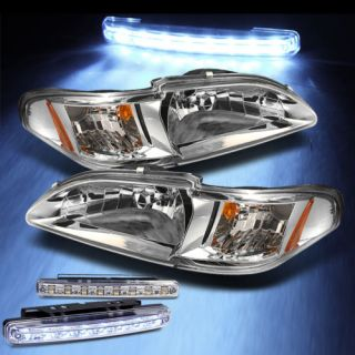 LED Bumper Fog Lights 94 98 Ford Mustang 2in1 Headlights Corner Lamp Pair Set