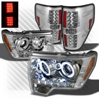 09 13 F150 CCFL Halo Projector Headlights Philips LED Perform Tail Lights Set