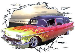 1958 Red Flames Cadillac Hearse Custom Hot Rod SS T Shirt 58 Muscle Car Tee'S