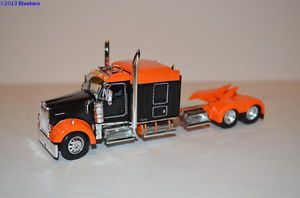 DCP Orange and Black Kenworth W900L Jones Hood Midroof Sleeper Semi Truck 1 64