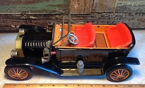 Vintage Tin Ford Model T Battery Car Toy Made in Japan Lights Work