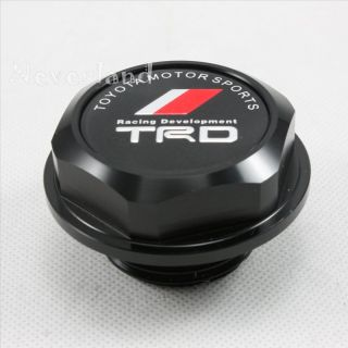 TRD Style Auto Engine Oil Fuel Filler Fill Tank Cap Cover Plug Black Billet