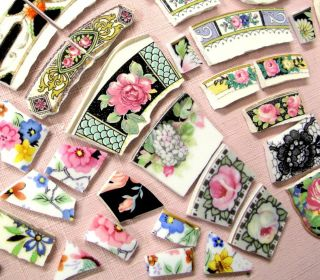 Big Lot Shabby China Mosaic Tiles Vintage Floral w Black Rims Focals Roses